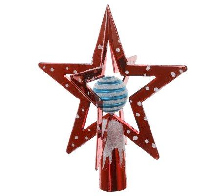 Cimier de sapin de noël étoile 3D rouge avec boule bleue