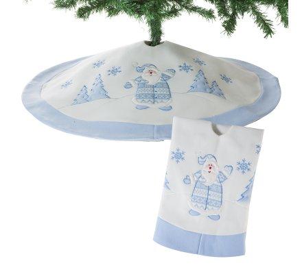 Jupe de sapin, couvre-pied en feutrine blanc et bleu motif Père-Noël D90cm