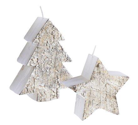 Lot de 2 bougies déco de Noël forme sapin et étoile avec effet écorce d'arbre