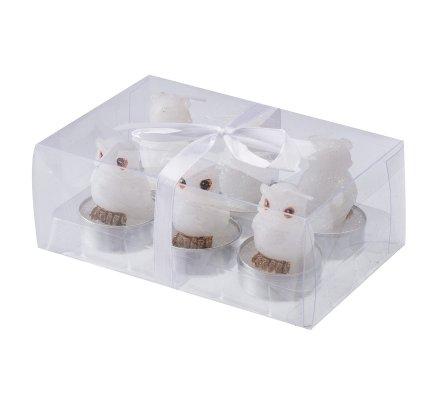 Lot de 6 bougies déco chauffe-plat hiboux blancs