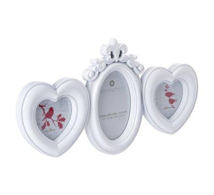 Pêle-mêle 3 photos coeur avec moulures coloris blanc