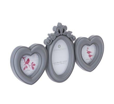 Pêle-mêle 3 photos coeur avec moulures coloris gris