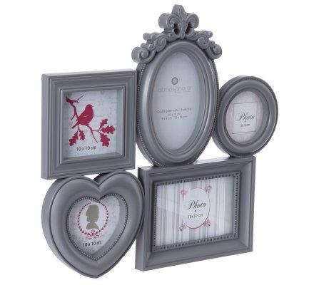 Pêle-mêle 5 photos avec moulures et coeur coloris gris