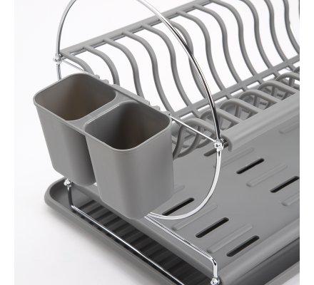 Egouttoir à vaisselle design 2 étages et plateau coloris gris