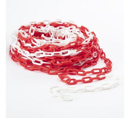 Chaine de signalisation en plastique rouge et blanc 25m maillon 6mm