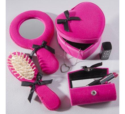 Coffret 4 accessoires boîtes à bijoux, brosse et miroir rose velours avec noeud noir
