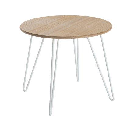 Table d'appoint, table à café en bois et pieds métal blanc style scandinave H40xD48cm