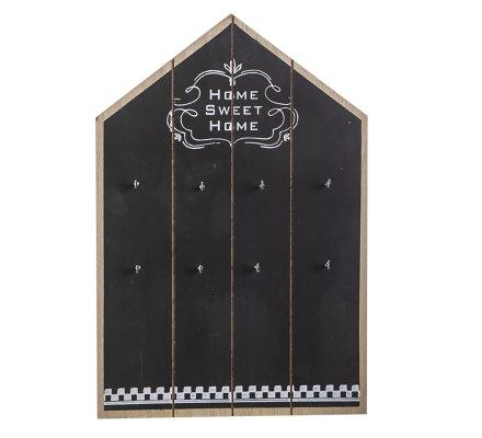 Panneau à clés, porte-clés mural en bois noir 8 crochets