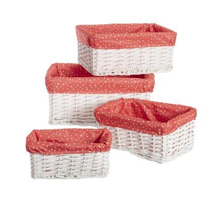 Lot de 4 paniers rangement déco en rotin et intérieur tissu rose à pois blancs