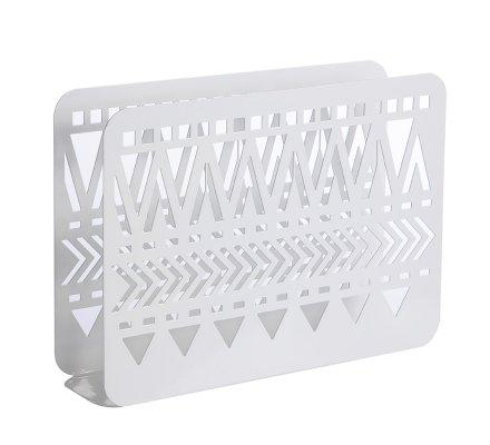 Porte-revues en métal à motif ethnique ajouré blanc