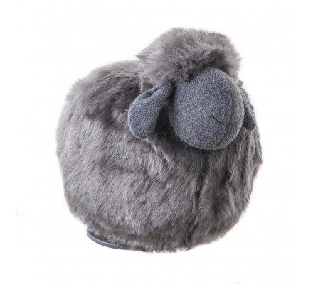 Mouton déco peluche sur socle coloris gris foncé 24cm