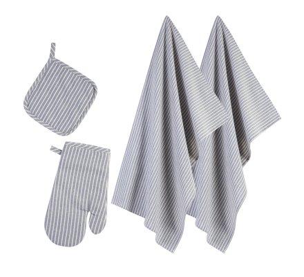 Lot de 2 torchons de cuisine avec un gant et une manique coloris bleu rayé blanc 100% coton