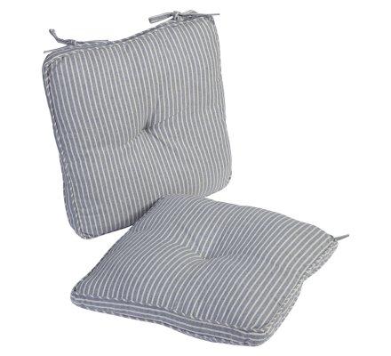 Lot de 2 galettes de chaise coloris bleu rayé blanc 38x38cm