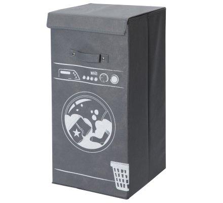 Panier, corbeille à linge design machine à laver avec rabat et anses coloris gris 60x30x30cm