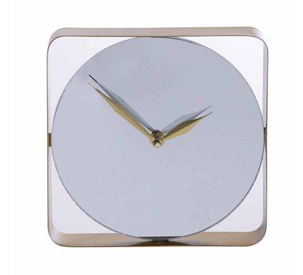 Horloge murale miroir design avec cadre métal doré 20cm