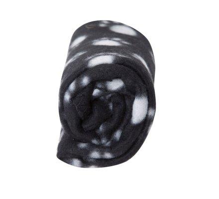Plaid pour animaux noir avec motif pattes 100x70cm