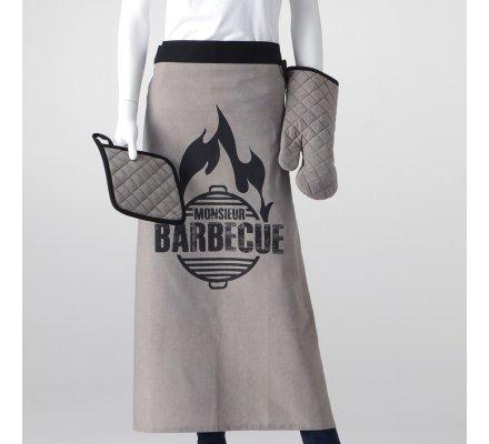"""Coffret """"Monsieur Barbecue"""" avec tablier, gant, manique + un décapsuleur offert coloris gris"""