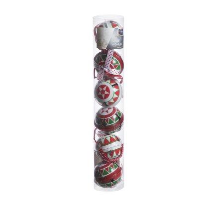 Lot de 6 grelots à accrocher en métal rouge et blanc avec motifs
