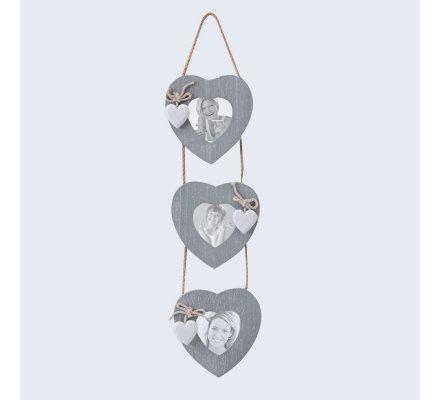 3 cadres photo suspension cœur bois 13x52cm
