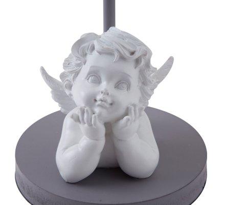 Lampe à poser ange abat-jour tissu blanc avec nœud gris 42cm