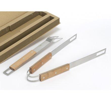 Coffret set barbecue pince et fourchette en bois et inox