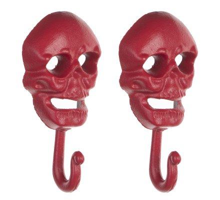Lot de 2 patères, crochets en fonte tête de mort coloris rouge