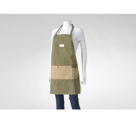 Tablier de jardin en coton et jute avec poche coloris vert