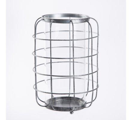 Photophore design industriel structure métal et tube en verre à poser 25x17cm