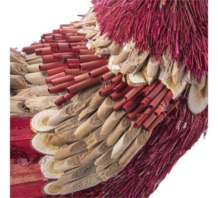 Coq déco en roseau et raphia rouge et écru H40cm