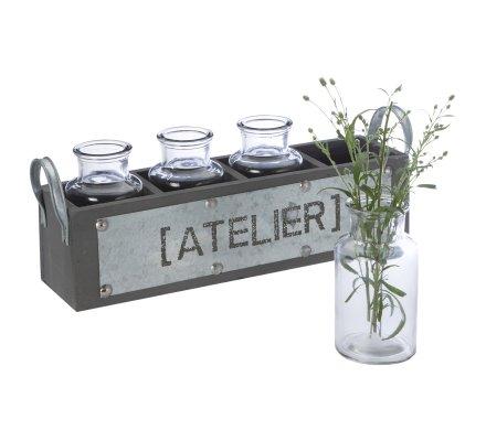 Panier déco en bois et galva avec 4 petites bouteilles en verre L36cm