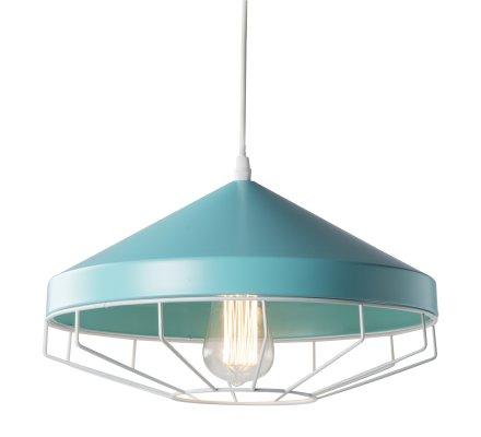 Suspension, luminaire en métal bleu style industriel D 33cm