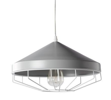 Suspension, luminaire en métal gris style industriel D 33cm