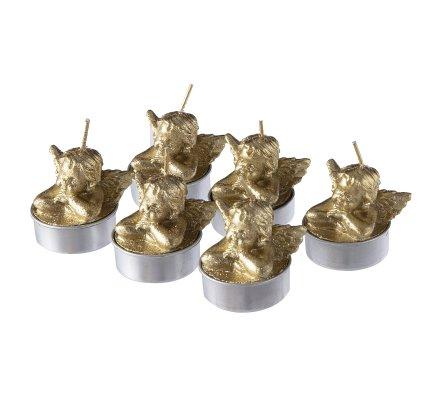 Lot de 6 bougies déco chauffe-plat anges dorés