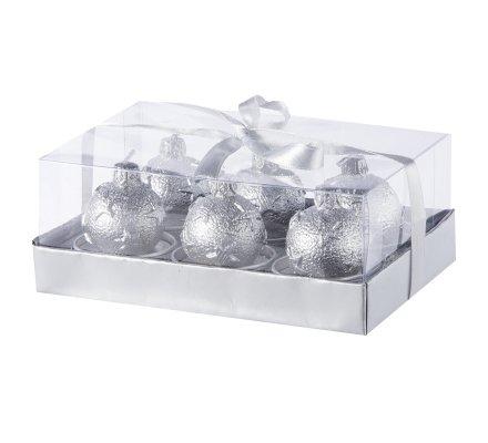 Lot de 6 bougies chauffe-plat boules de Noël Argentées