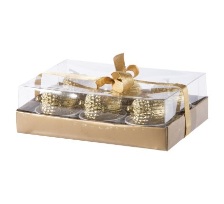 Lot de 6 bougies chauffe-plat Glands dorés