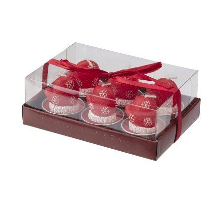 Lot de 6 bougies déco chauffe-plat gants de Noël