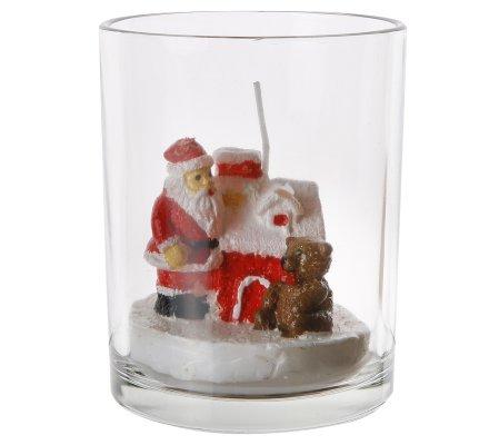 Lumignon décoration de Noël avec bougie père Noël, chalet et ourson 10cm