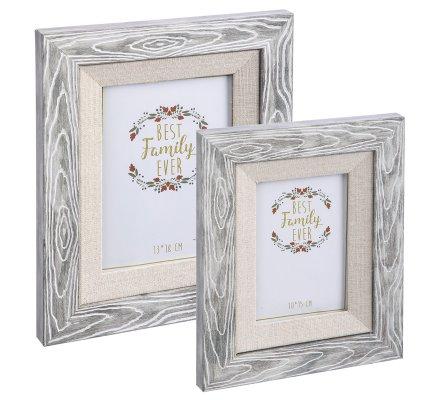 Lot de 2 cadres photo en plastique imitation bois et jute 24,5x19,5cm et 17,5x22,5cm