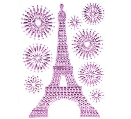 Lot de 3 stickers Tour Eiffel en relief avec rosaces 3 couleurs (rose, argent et violet) H40cm