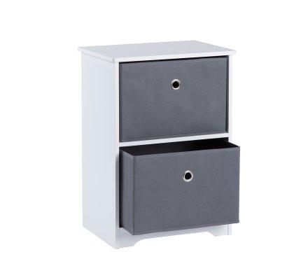 meuble de rangement bois blanc 2 tiroirs intissés gris 40x30x56cm