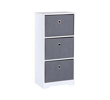 meuble de rangement bois blanc 3 tiroirs intissés gris 40x30x81cm
