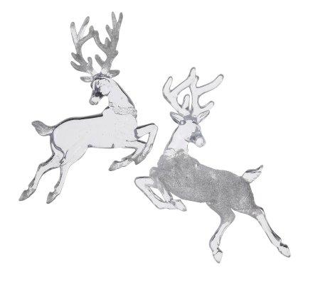 Lot de 2 sujets de Noël, rennes transparents à suspendre en acrylique avec paillettes