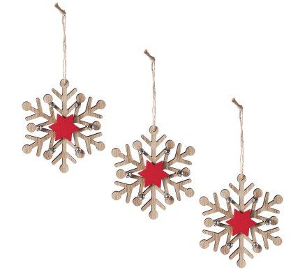 Lot de 3 sujets de Noël Flocon en bois à suspendre avec étoile rouge et grelots