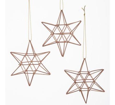 Lot de 3 étoiles déco sapin design en métal coloris cuivre 10cm