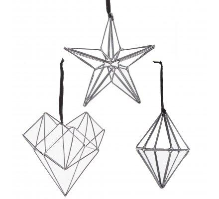Lot de 3 sujets en métal argenté style origami à accrocher, étoile, coeur, losange