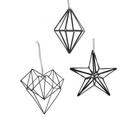 Lot de 3 sujets en métal noir style origami à accrocher, étoile, coeur, losange