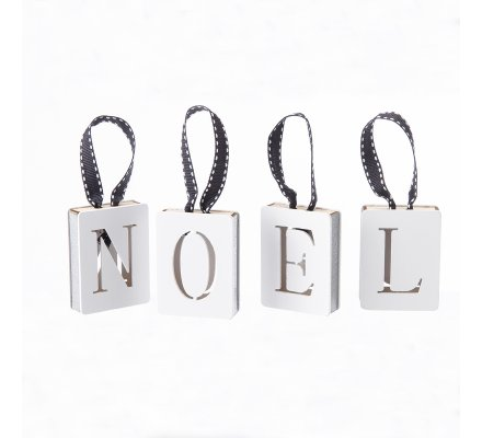 """Lot de 4 sujets lettres """"NOEL"""" à suspendre en bois blanc"""