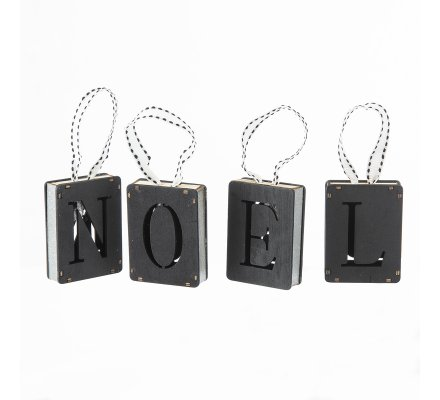 """Lot de 4 sujets lettres """"NOEL"""" à suspendre en bois noir"""