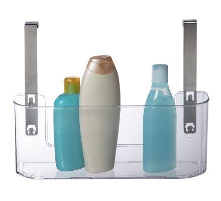 Panier, bac de rangement en plastique à suspendre avec patères inox
