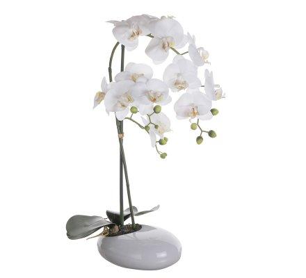 Orchidée artificielle blanche au toucher réel dans son pot céramique H 60cm